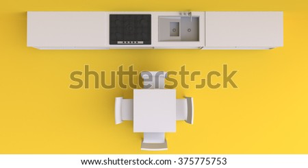 Kitchen furniture in the corner room, 3d illustration. Top view. - stock photo