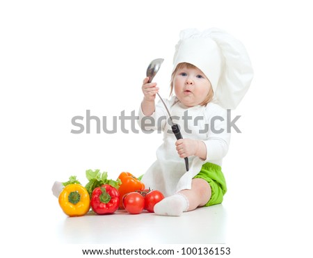 kitchen girl with pan isolated on white - stock photo