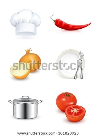 Kitchen, icon set bitmap copy - stock photo
