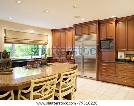 Kitchen in Modern Luxury Home - stock photo