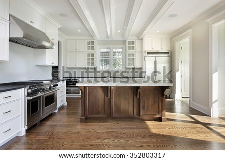 Kitchen in new construction home with white cabinetry - stock photo