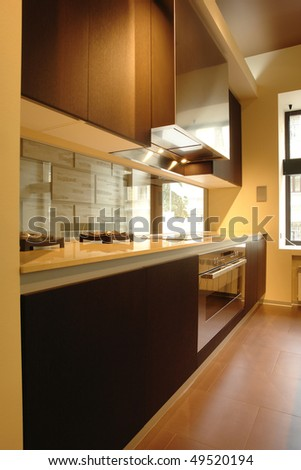 kitchen in perspective - stock photo