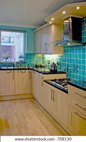 Kitchen in UK luxury home 3 - stock photo
