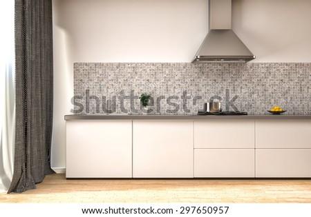 Kitchen in white. 3d illustration - stock photo