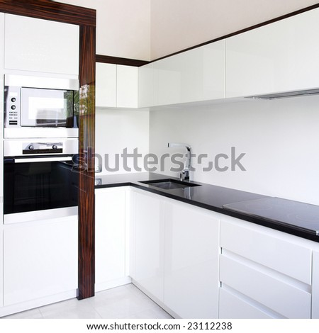 Kitchen interior corner in white - stock photo