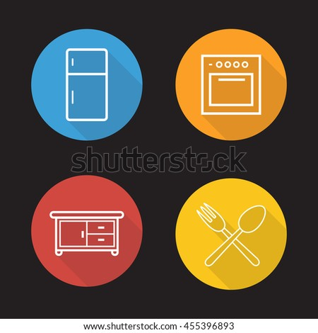 Kitchen interior flat linear icons set. Fridge, oven, cooking cabinet, fork and spoon symbols.  Long shadow outline logo concepts. Raster line art illustrations - stock photo