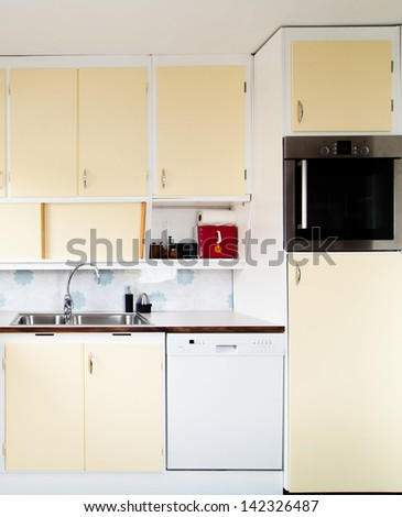 kitchen interior from the fifties - stock photo