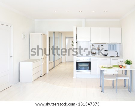 kitchen interior in bright apartment - stock photo