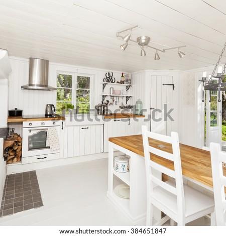 kitchen interior in swedish stylish  country-house - stock photo