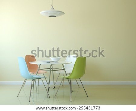 Kitchen interior with table and chairs near empty yellow wall. 3d render. - stock photo