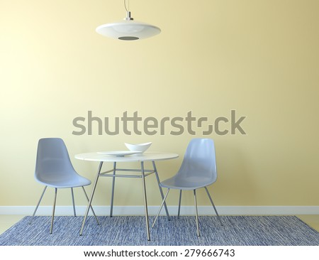 Kitchen interior with table and two blue chairs near empty yellow wall. 3d render. - stock photo