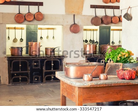 Kitchen interior with vintage kitchenware - stock photo