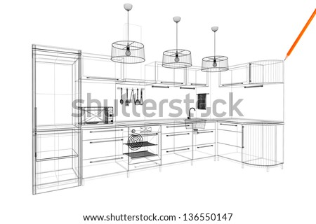 kitchen linear model - stock photo