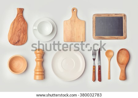 Kitchen mock up template with organized cooking objects. View from above - stock photo