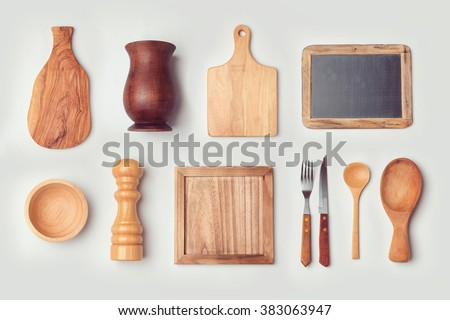 Kitchen mock up template with wooden cooking objects. View from above - stock photo