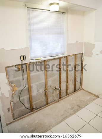 Kitchen remodeling project.  Drywall had to be removed because of mold resulting from water damage. - stock photo