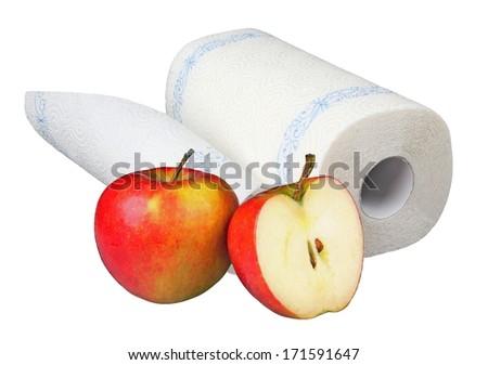 Kitchen roll wth apples - stock photo
