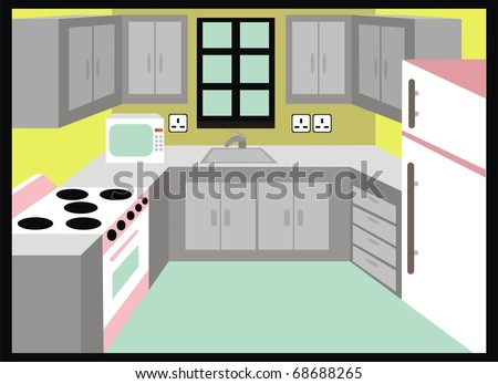 Stock images similar to id 89653231 kitchen cartoon for Cartoon kitchen cabinets