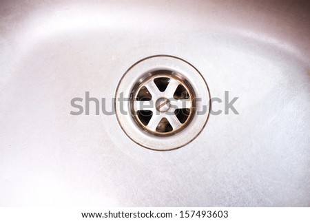 Kitchen sink closeup - stock photo