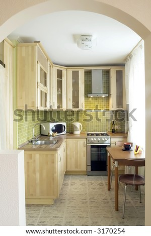Kitchen - smart design for a small apartment/ house - stock photo