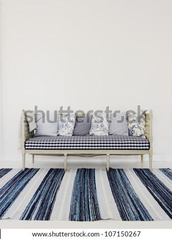 Kitchen sofa, Sweden. - stock photo