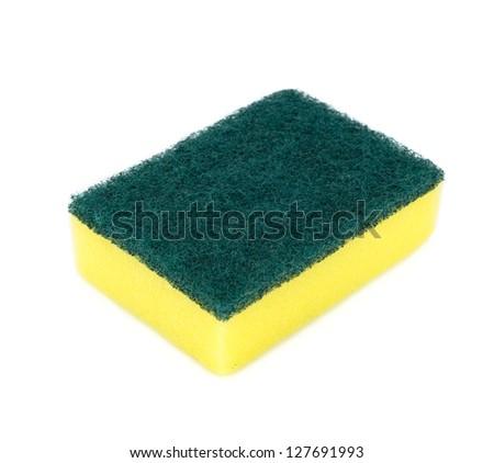Kitchen sponge isolated on the white background - stock photo