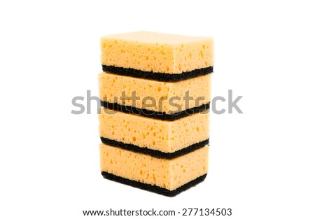 kitchen sponges on a white background - stock photo