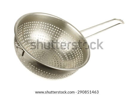 Kitchen stainless steel strainer isolated on the white background - stock photo