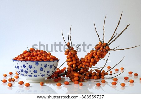 Kitchen still life with bowl of sea buckthorn berries and fresh twig sea-buckthorn. Autumn harvest healthy berries from the home garden. - stock photo