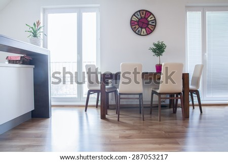 kitchen table in modern appartment - stock photo