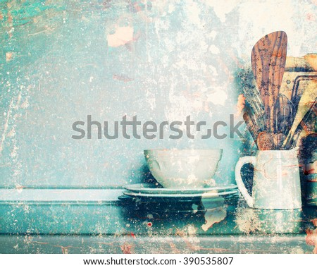 Kitchen Table-top Rustic Dishes Table Ware Fresh Grocery Other Different Stuff Shabby Wall  Background Country Style - stock photo