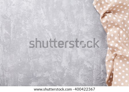 Kitchen table with towel. Top view with copy space - stock photo