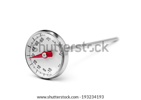 Kitchen thermometer on white background - stock photo