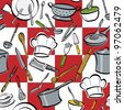 Kitchen Tools Check seamless pattern of common utensils used for cooking and eating. - stock photo
