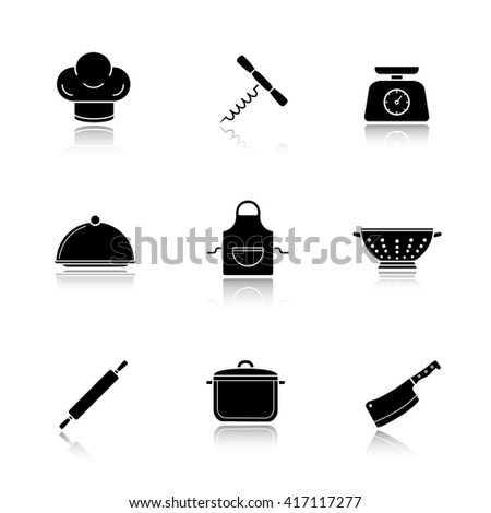 Kitchen tools drop shadow icons set. Kitchenware equipment. Restaurant cooking utensil. Chef hat and butcher cleaver. Apron, colander and corkscrew opener. Logo concepts. Raster black illustrations - stock photo