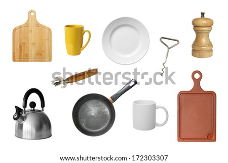 Kitchen tools isolated on a white background. - stock photo
