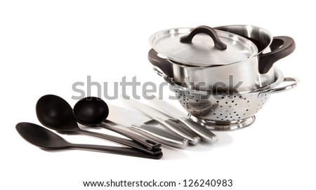 kitchen tools isolated on white - stock photo