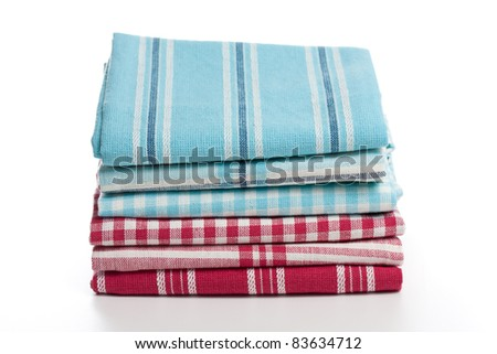 Kitchen towels on white background - stock photo