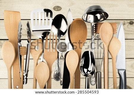 Kitchen Utensil, Cooking Utensil, Wooden Spoon. - stock photo