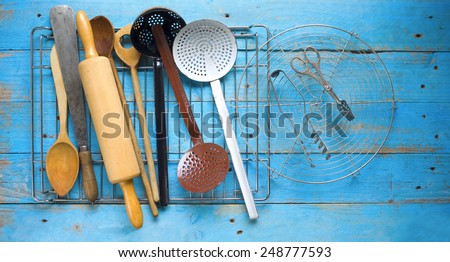 kitchen utensils, cooking concept, free copy space - stock photo
