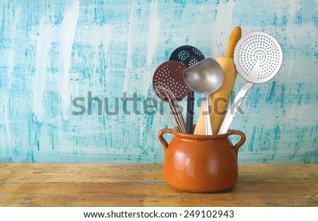 kitchen utensils, free copy space, cooking concept - stock photo