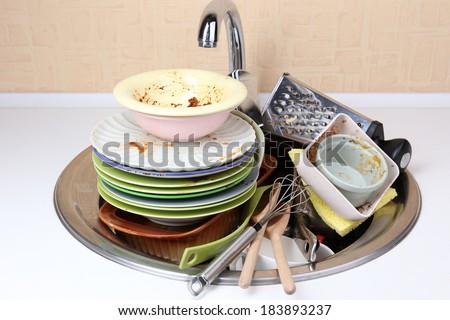 Kitchen utensils need wash close up - stock photo