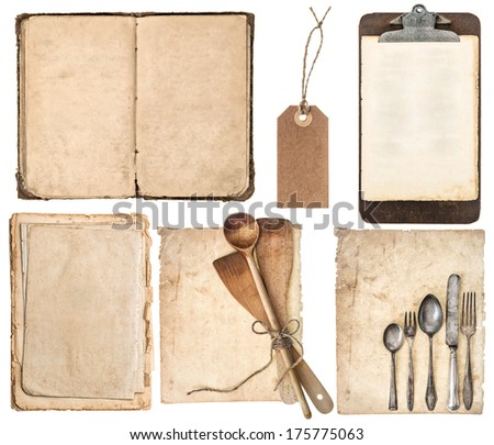 kitchen utensils, old cookbook, pages and clipboard isolated on white background. Grandma's recipes book concept - stock photo