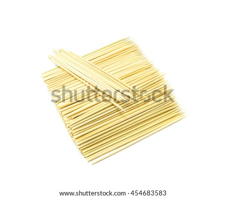 Kitchen utensils, Pile of bamboo Skewers - stock photo