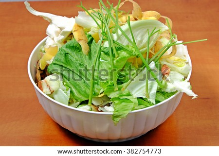 Kitchen waste fruit and vegetable scraps in a white plastic bowl cabbage carrots onions - stock photo