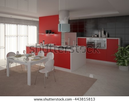 Kitchen with modern design in a minimalist style, 3d rendering. - stock photo