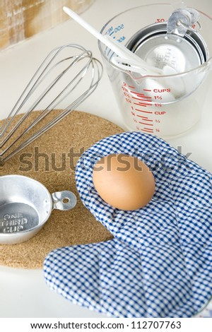 kitchenware and egg prepare for cooking - stock photo