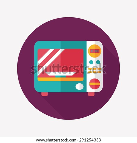 Kitchenware microwave oven flat icon with long shadow, - stock photo