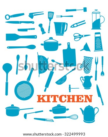 Kitchenware objects and icons set isolated on white background. For cooking, household and restaurant logo design - stock photo