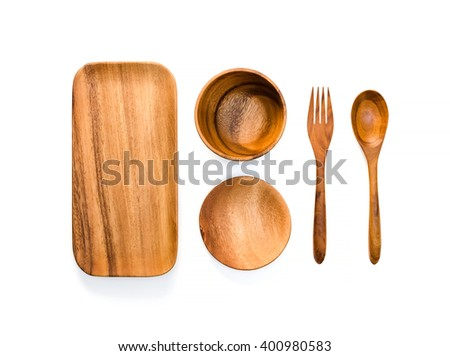 Kitchenware set of wooden plate, wooden spoons, wooden fork, wooden bowl and wooden small disk on white background. - stock photo